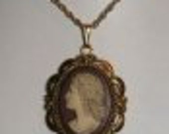 cameo necklace Vintage Whiting And Davis ~ Cameo Necklace ~ Pendant