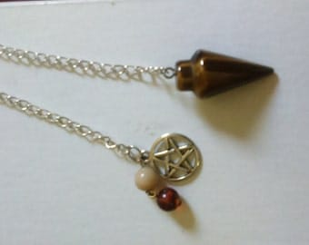 Pentacle Tigers Eye Pendulum, Metaphysical, Reiki,Conjure,
