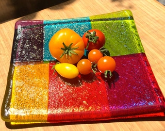 Iridescent Rainbow 6-color Square Fused Glass Dish