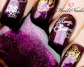 Gold & Silver Christmas Nail Art Water Transfers Merry Christmas Bells Snow
