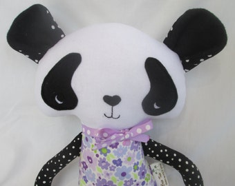 Stuffed Panda Softie with Purple outfit- Made to Order- Can be Customized