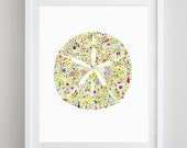 Sand Dollar Floral Watercolor Print