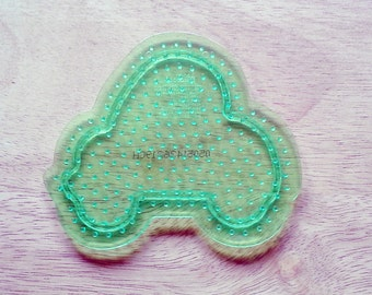Perler Bead Clear Green Car Pegboard, Ironing Paper, Instructions, Craft Supply, Church Crafts, School Crafts, Bead Crafting Supplies
