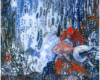 Fine art print, Goldfish in the Clouds, blue, red, coral, whimsical,abstract, colourful, decorative,beach,unique, wall decor...