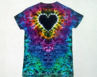 Small Rainbow and Black Heart Tie Dye Shirt