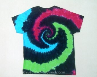 Tie Dye Shirt- 2XL Vortex Spiral in Green Blue Pink and Black