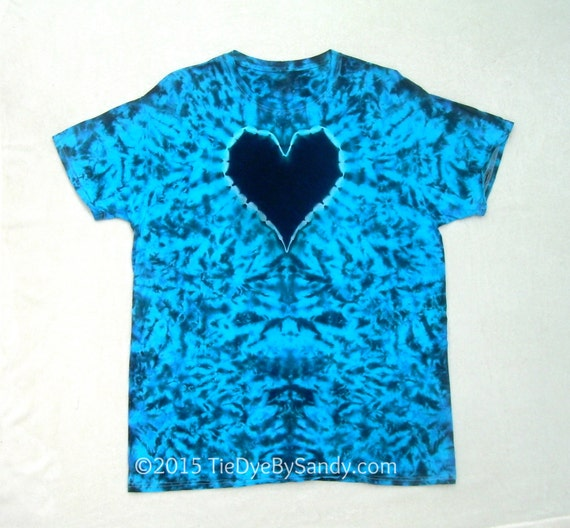 Xl black and blue heart tie dye shirt for Black and blue tie dye t shirts