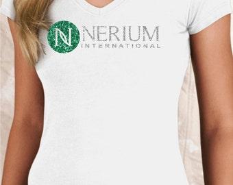 Glitter Nerium Logo White V Neck Slim Fit Shirt Tee