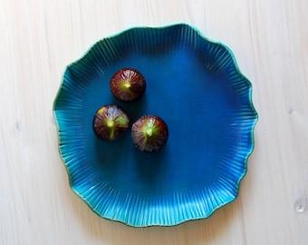 Stoneware plate Ceramic tray Blue ceramics plate Ceramic platter Serving plate Pottery Serving platter Blue plate Modern ceramic and pottery