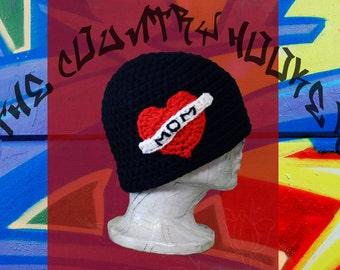 Crochet Tattoo I Love Mom Heart Banner Hat Beanie