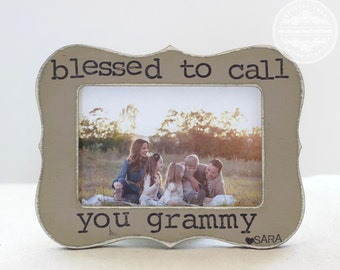 Grandma Gift Picture Frame for Grandparents Day  'Blessed to Call You Grammy' Personalized Frame from Grandkids Grandchildren