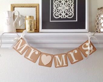 Mr. & Mrs. Wedding banner  Bridal shower decor wedding decor