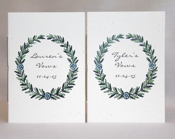 Wedding Vow Books  - His And Her Vow Books - Watercolored Wreath Design