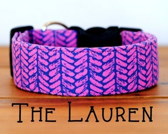 "Hot Pink & Violet Bright Girly Abstract Geometric Dog Collar ""The Lauren"""