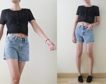 90s black stripe cropped top, short sleeve sheer blouse, see through shirt, button up,stretchy,athletic,punk,goth,grunge REVIVAL,indie, XS-S