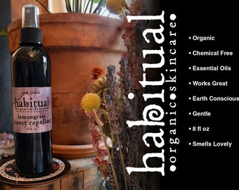 ORGANIC BUG SPRAY ~ All Natural Insect Repellant * Chemical Free & Handmade * Perfect Green Eco Healthy Beach Outdoor Spray ~ 8 oz