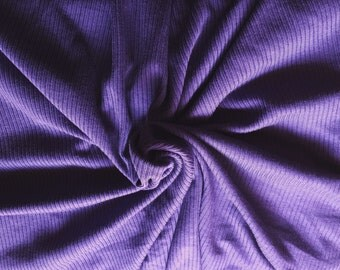 "Rib 2x2 Knit Flat Back Supima Cotton Rayon Fabric by Yard 60""W - Purple"