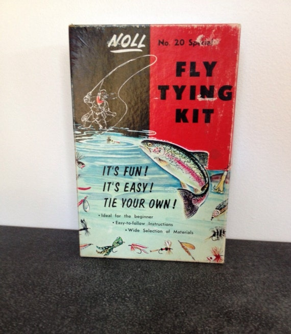 Fly fishing christmas gift for men vintage noll fly tying for Fly fishing tying kit