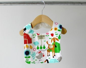Baby/Toddler Bib, Farm Life Cotton with Organic Bamboo Terry
