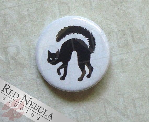 Halloween Cat Button, Magnet, or Keychain, Black Cat Silhouette Pinback Button, Creepy Cat, Arched Back Cat Pin, Hissing Cat Pinback Button