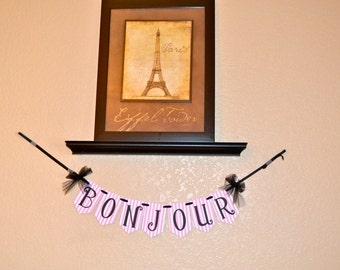 Fancy Nancy Door Banner, Bonjour Banner, French Door Banner