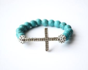 Cross Bracelet, Beaded bracelet,Turquoise bracelet,Sidecross jewelry,Stone beads,Birthday gifts,Turquoise jewelry,Handmade jewelry