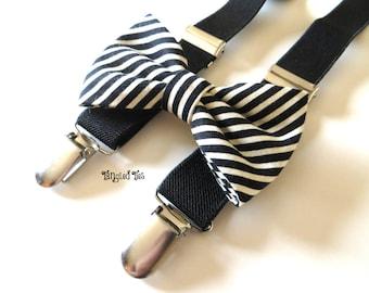 Toddler, Boys' Elastic Suspender Set, Black Ivory Suspender Set