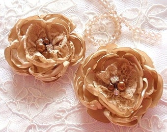 2  Handmade Singed Flowers With Pearl and Rhinestone Satin Flower Singed Roses (2.5  inches) InTan MY-372 -01 Ready To Ship