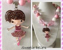 Ballerina, Ballet rhinestone chunky bubblegum Bead Necklace READY TO SHIP