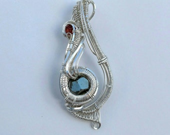 """Silver Wire Wrapped Pendant with Garnet """"Humble"""""""