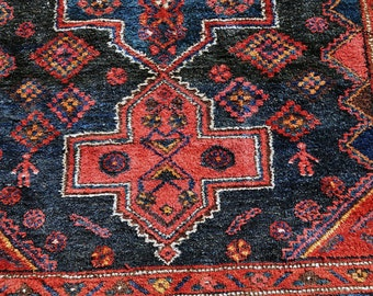 Plush Old Geometric Hamadan Rug --  7 ft. by 5 ft.