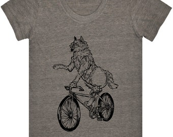 Wolf On Bicycle Tri Blend Track Tee.Women's American Apparel T Shirt.Bike Clothing Love Gift Ideas For Mom.Funny Bicycle Tshirt Design Print