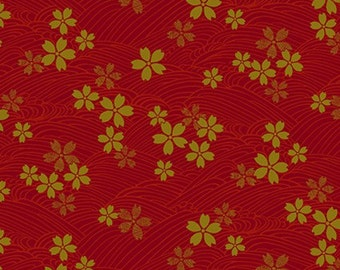 Japanese Gold by Quilt Gate 3980 14C in Red with Gold Metallic Flowers