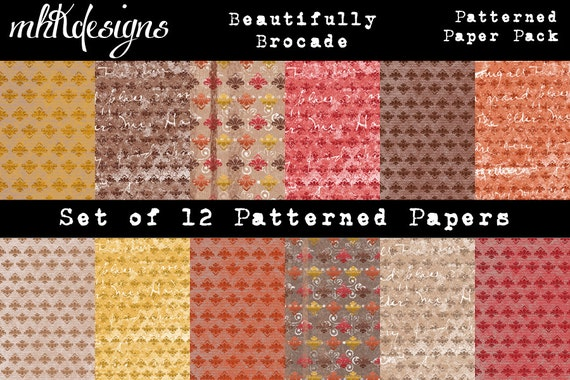 Beautifully Brocade Patterned Paper Pack