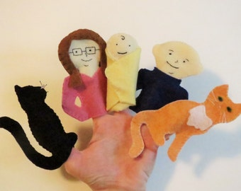 Custom finger puppets, Family Finger puppets, felt toys, children's toy, Character Finger Puppets, custom puppets, unique baby gift, toy