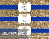 Baby Shower Gold Glitter- Royal Blue - Print Water Bottle Labels Wrap - DIY Print Your Own - Self Download