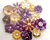 Yellow Purple Enamel Flower Brooch Lot Of 16 Goldenrod Plum Metal Flower Pins Flat Back Purple and Yellow Bridal Brooch Bouquet Lot Brooches