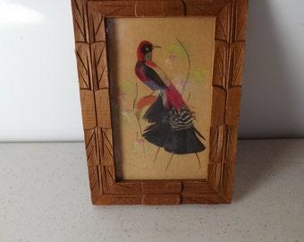 Framed Feather Folk Art Bird Picture
