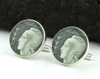 French Silver Cufflinks for Men.  Custom Men's Cufflinks Handmade with 1940s French Postage Stamps. Wedding Cufflinks or Corporate Gift.