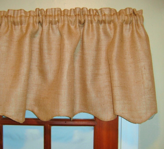 Frilled Kitchen Curtains Lined: Scalloped Burlap Valance Extra Wide Width Lined By
