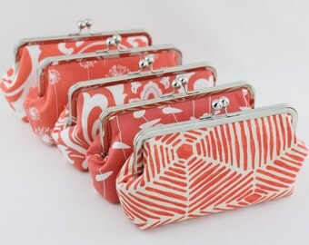 Coral Bridesmaid Clutch / Coral Wedding Purses / Personalized Gift for your Bridal Party - Set of 6