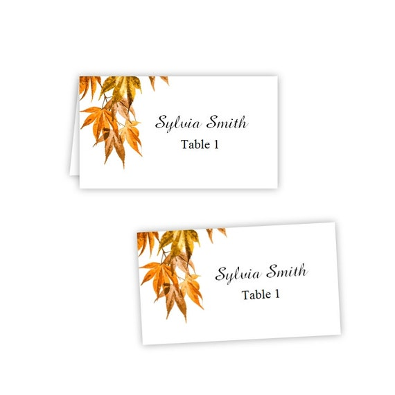 fall leaves 2 folded table tent flat place card templates
