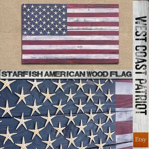Starfish American Flag Wooden Wall Art