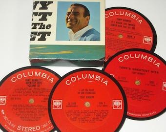 TONY BENNETT Coasters, vinyl record coaster set