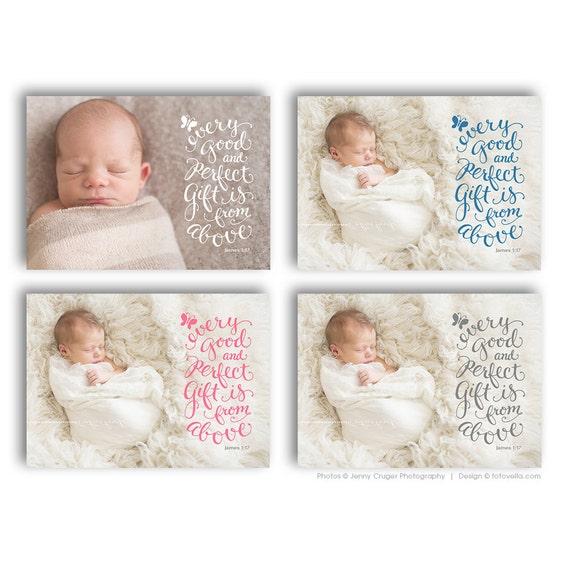 Birth Announcement Card Bible Verse Christian Themed – Bible Verses for Baby Announcements