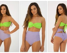 Purple stripes/green high waisted swimsuit (sold separately)
