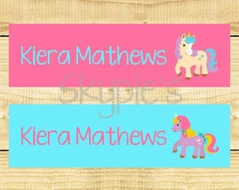 80 Personalized Iron on Clothing Labels, Iron on Name Tags, Daycare School Camp Name Labels - Uncut - Unicorn