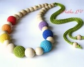 Rainbow nursing necklace, multicolor teething necklace, breastfeeding necklace, wooden crochet baby toy, natural, wood, cotton yarn