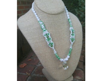Glow In The Dark Handblown Glass Mushroom Hemp Necklace with Hemp Rope Core, Green Mushroom, Adjustable Necklace, OOAK Necklace