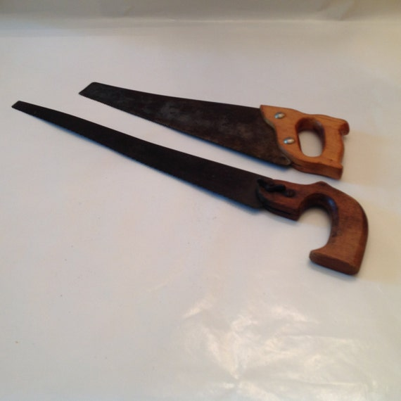 2 Old Saws Horn Handle Pruning Saw And Small Hand Saw